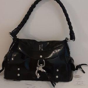 Francesco Biasia patent leather satchel handbag